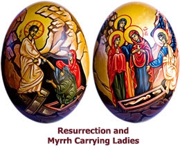 Resurrection-Icon- egg-with-Myrrh-Carrying-Ladies