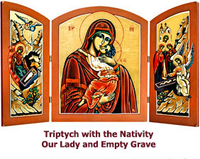 Nativity Triptych with Our Ladies at the Grave