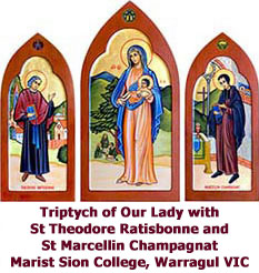 Triptych of Our Lady with St Theodore Ratisbonne and St Marcellin Ccampagnat