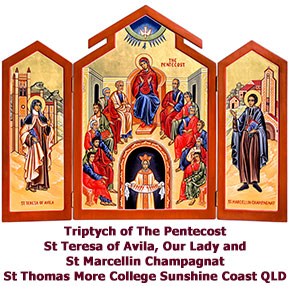 Triptych-of-Pentecost-with-St-Teresa-and-Marcellin-Champagnat-triptych-icon