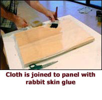 Cloth is joined to panel with rabbit skin glue