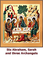 Pr Abraham and Pr Sarah and three Archangels-icon